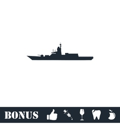 Warship icon flat vector image