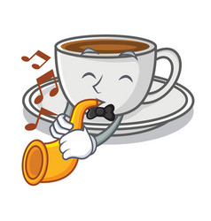 with trumpet coffee character cartoon style vector image