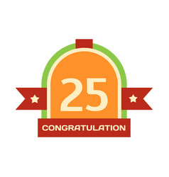 birthday twenty-fifth badge banner design flat vector image vector image