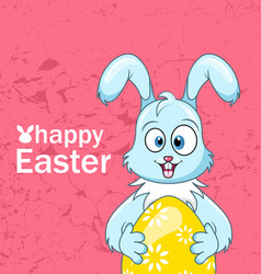 Cute smiling rabbit with egg for happy easter vector