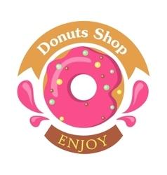 Donut Shop Logo Icon Enjoy Tasty Glazing vector image