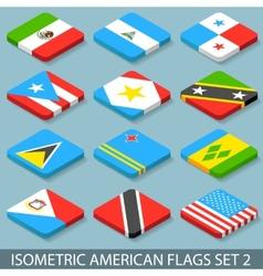 Flat Isometric American Flags Set 2 vector image
