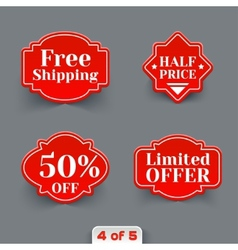 Set of Red Sale Paper Retro Labels vector image vector image