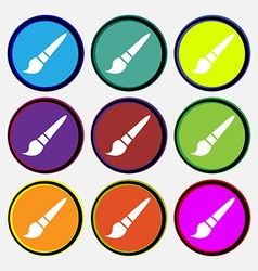 brush icon sign Nine multi colored round buttons vector image