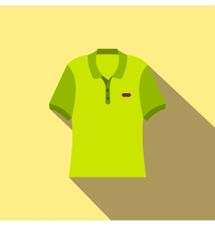 Green men polo shirt flat icon vector image vector image