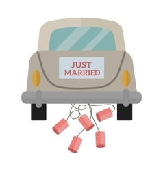 Vintage wedding car with just married sign and vector image