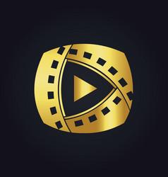 Play film media technology gold logo vector