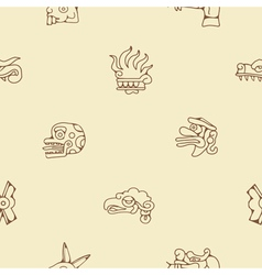 Seamless background with Aztec calendar Day glyphs vector image
