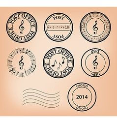 set - music post stamps vector image