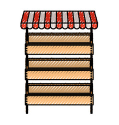 supermarket shelves with big storage with three vector image