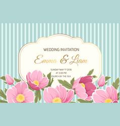 wedding invitation anemone hellebore pink flowers vector image