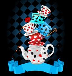 Wonder Tea Party pyramid design vector image