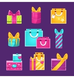 Wrapped Presents Set vector image vector image