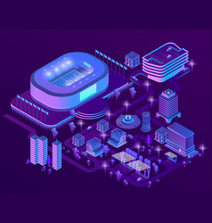 3d isometric ultraviolet megapolis with vector