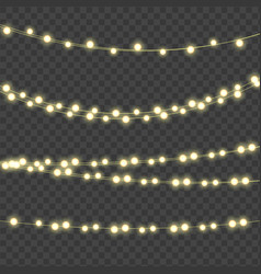 abstract ligth bulb garland on transparent vector image