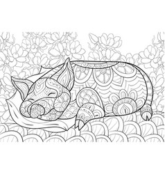 Adult coloring bookpage a cute sleeping pig on a vector
