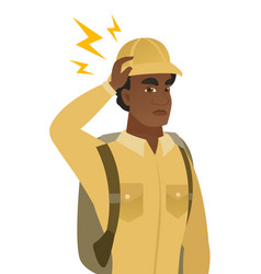 African traveler with lightning over his head vector