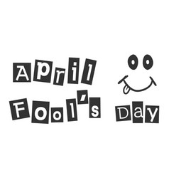 april fools day text icon in flat style happy vector image