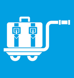 Baggage cart icon white vector