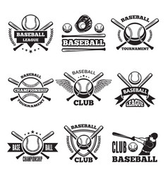 Baseball logos set in style vector