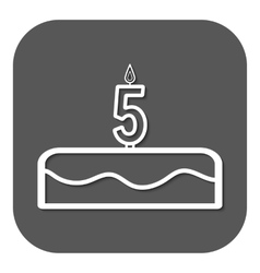 Birthday cake with candles number 5 vector