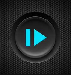 Black button with blue sign of fast forward on vector