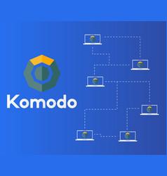 Blockchain komodo symbol network concept vector