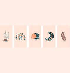 boho social media cover layout set boho vector image