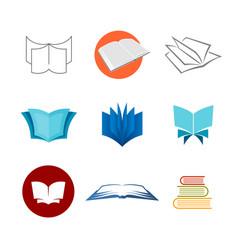 books logo set various style book symbols vector image