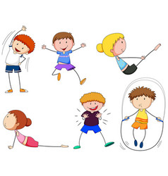 boys and girls doing exercise vector image