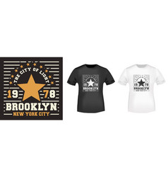 brooklyn star t-shirt print for t shirts applique vector image