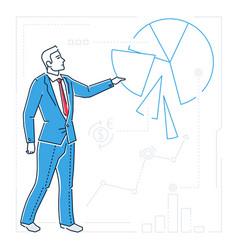 Businessman showing a diagram - line design style vector