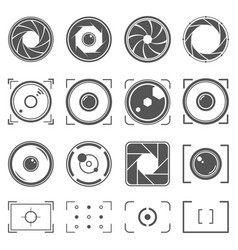 Camera shutter lenses and photo camera elements vector
