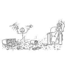 Cartoon of naughty little boy doing mess vector