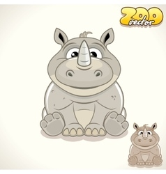 Cartoon rhino character vector