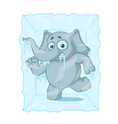 Character elephant frozen in ice cartoon vector