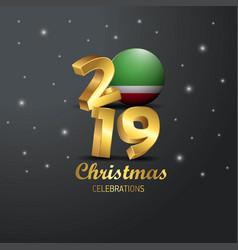 Chechen republic flag 2019 merry christmas vector