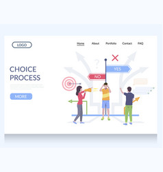 choice process website landing page design vector image