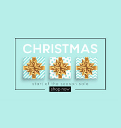Christmas background with gifts boxes with a gold vector