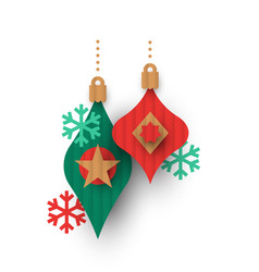 christmas papercut bauble ornaments isolated vector image