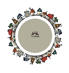 Cityscape frame abstract houses sketch for your vector image
