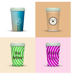Coffee cup set collection vector