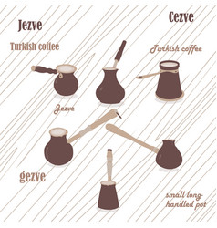 coffee jezve set with light wood background vector image