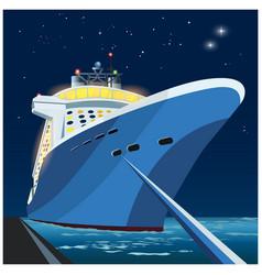 Cruise ship at pier at night vector