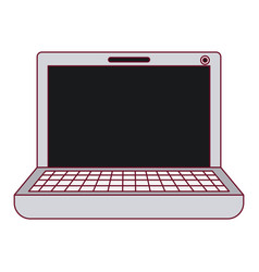 Dark red line contour and gray color of laptop vector