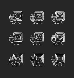 different power outlets black glyph icons set vector image