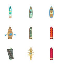 Dinghy icons set cartoon style vector