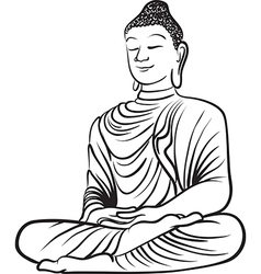 Drawing of a buddha statue vector