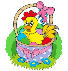 easter basket with cute chicken vector image