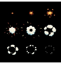 explode effect animation cartoon explosion frames vector image